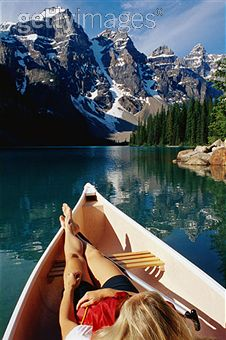 Woman in Boat-Beautiful mountains